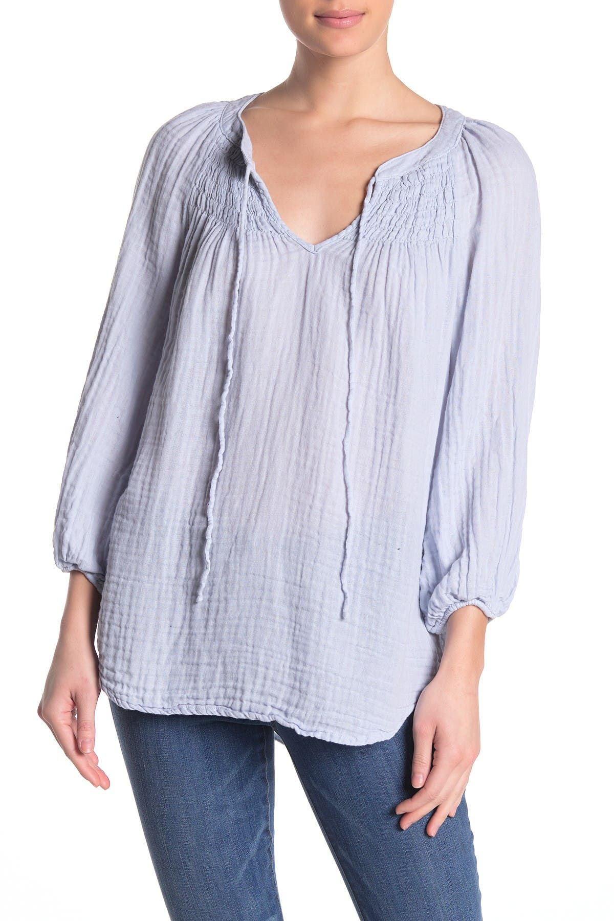 Image of Michael Stars Smocked Yoke Peasant Top