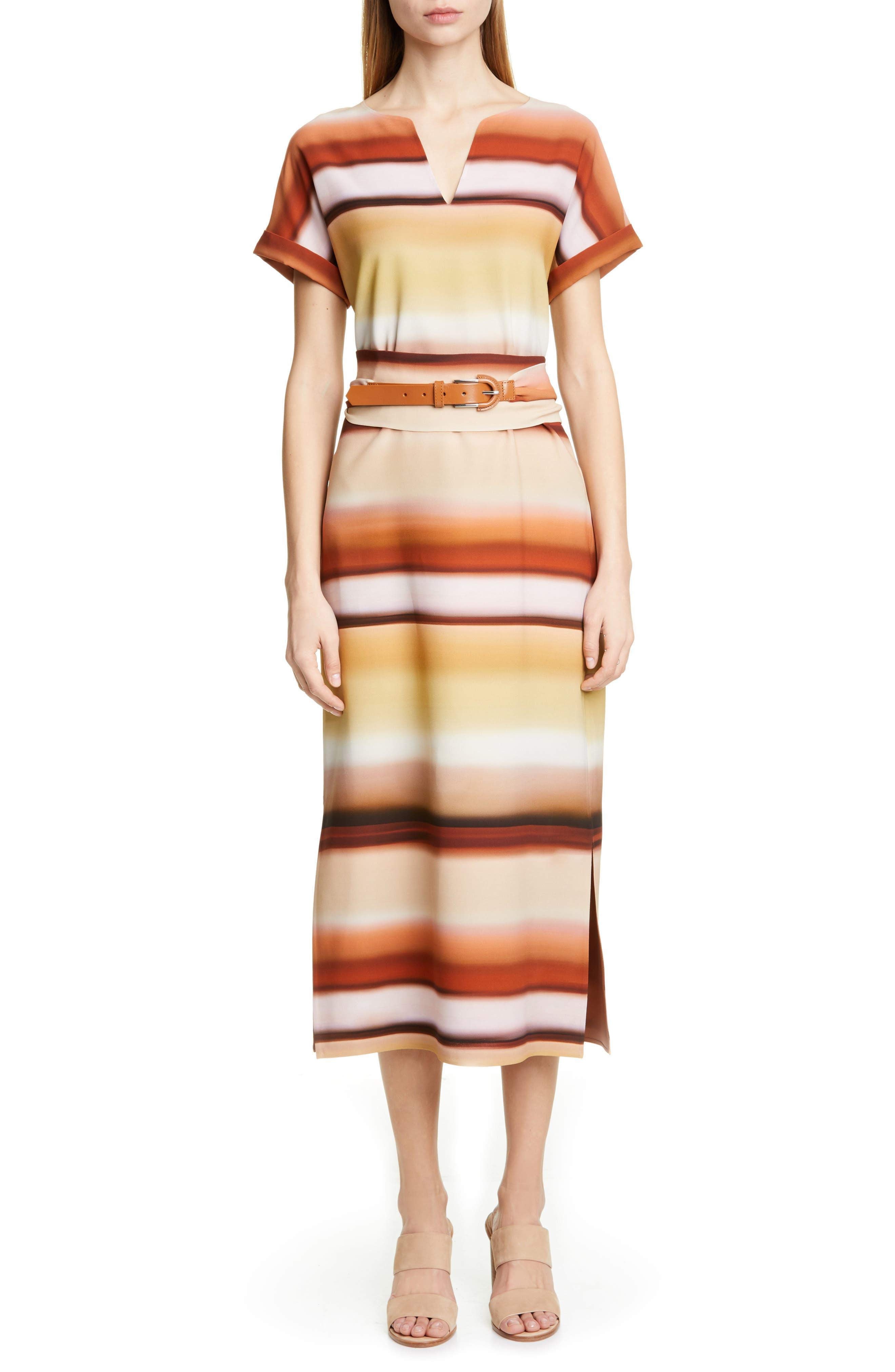 Lafayette 148 New York Cosimia Belted Midi Dress, Beige