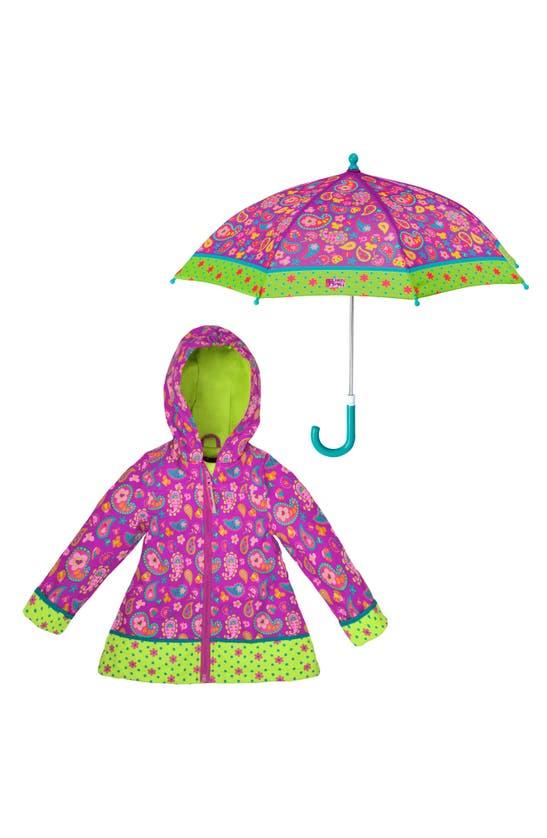 Stephen Joseph Kids' Print Raincoat & Umbrella Set (toddler Girl & Little Girl) In Paisley