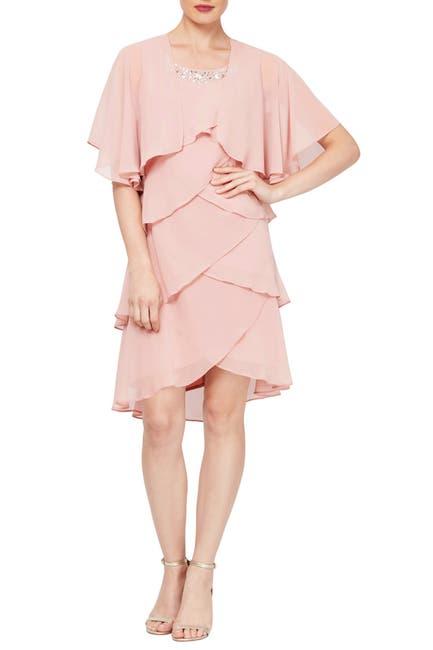Image of SL Fashions Chiffon Tier Beaded Dress