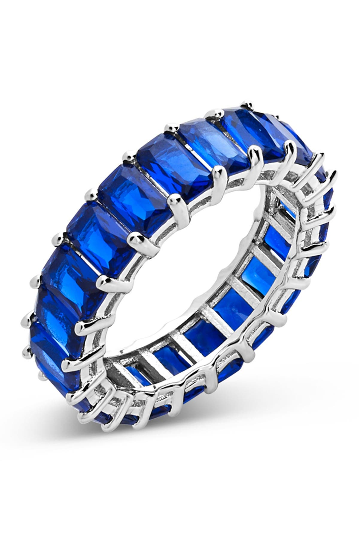 Image of Sterling Forever Sterling Silver Emerald Cut CZ Eternity Band - Sapphire