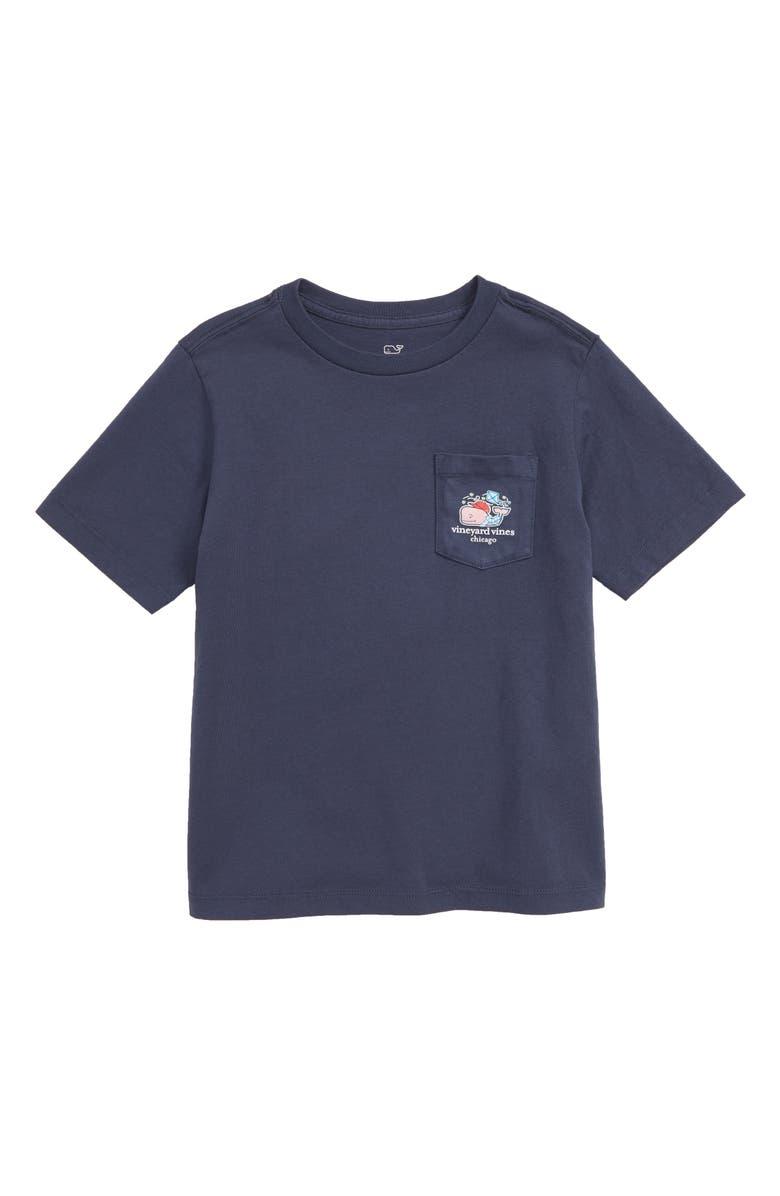 VINEYARD VINES Chicago Whale Pocket T-Shirt, Main, color, BLUE BLAZER