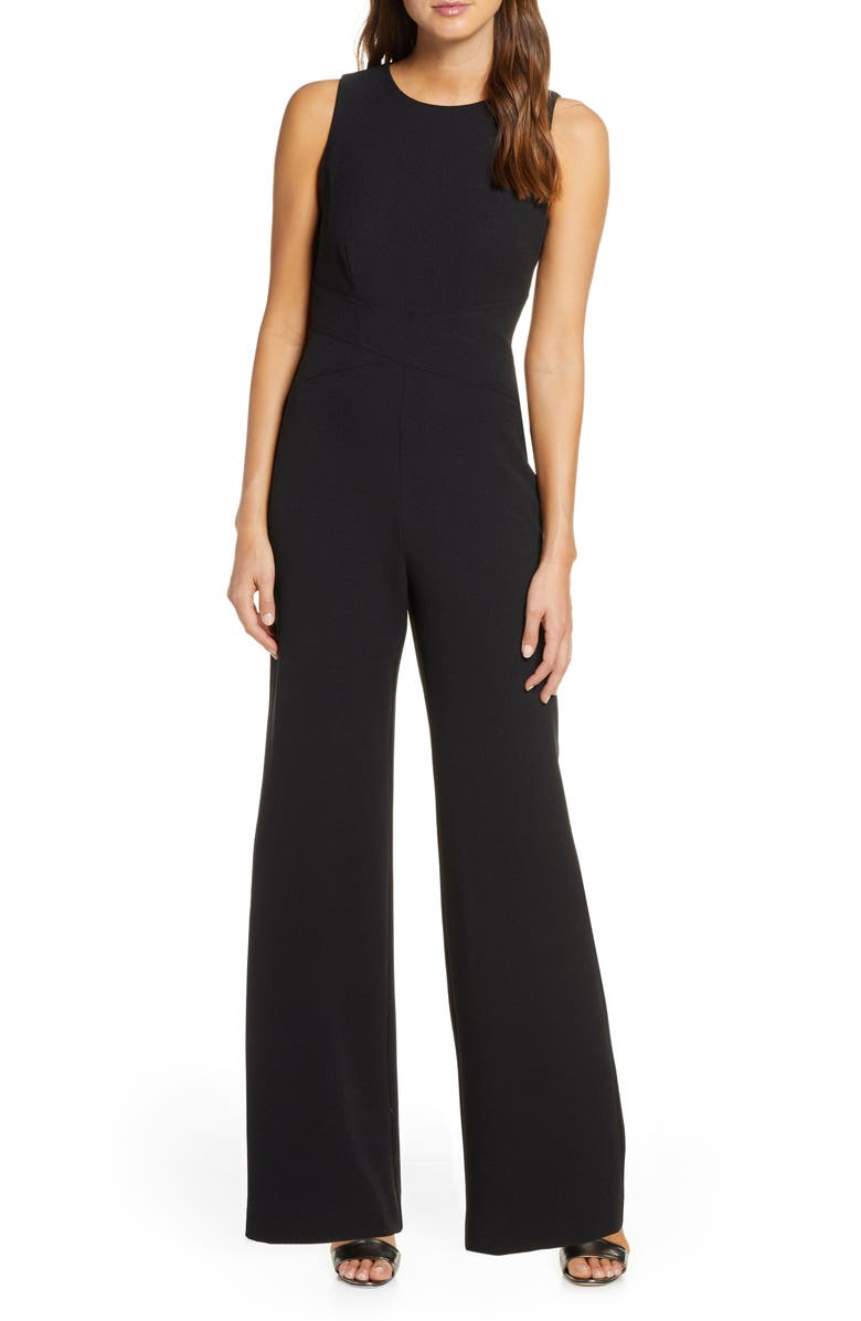 VINCE CAMUTO Crisscross Waist Crepe Jumpsuit, Main, color, BLACK