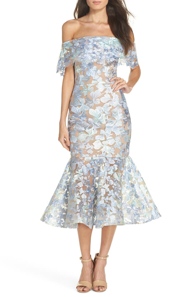 BRONX AND BANCO Butterfly Embroidered Off the Shoulder Mermaid Dress, Main, color, 440