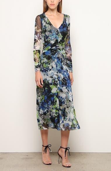 Floral Print Long Sleeve Ruched Midi Dress, video thumbnail
