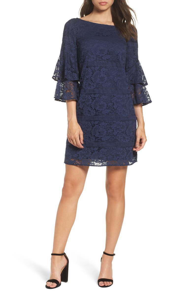 ELIZA J Tiered Sleeve Lace Shift Dress, Main, color, 410