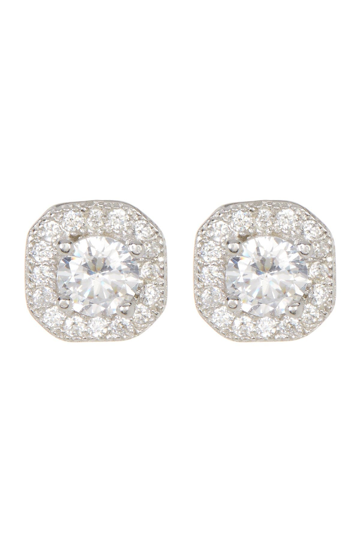 Image of ADORNIA Sterling Silver Prong & Halo Set Swarovski Crystal Accented Stud Earrings