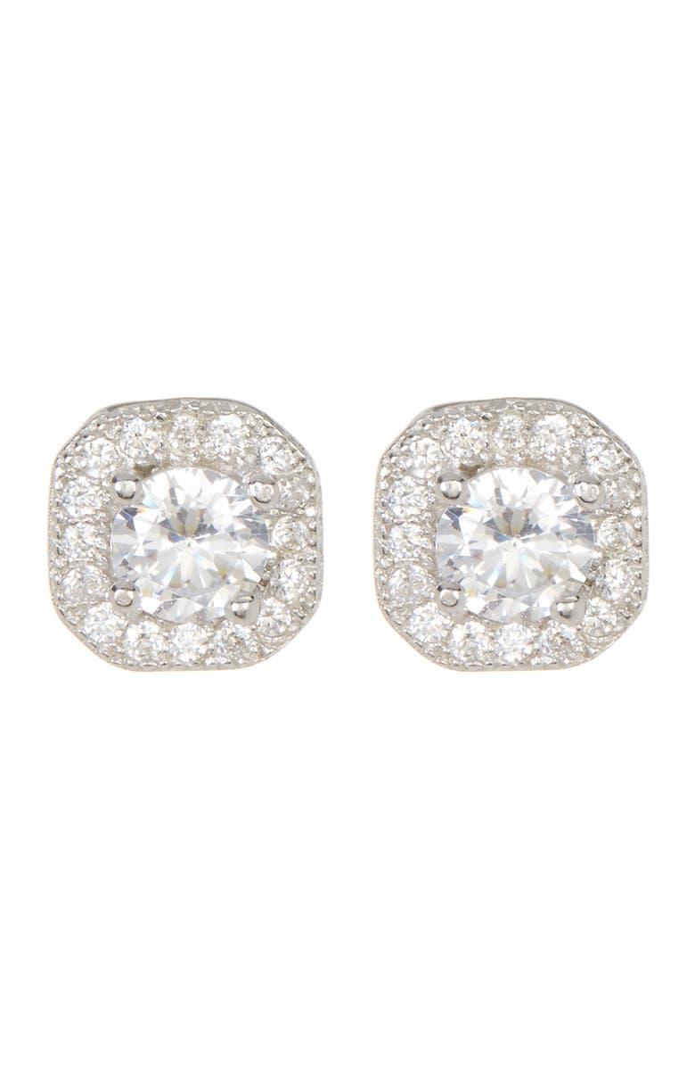 ADORNIA White Rhodium Plated Swarovski Crystal Halo Stud Earrings, Main, color, SILVER