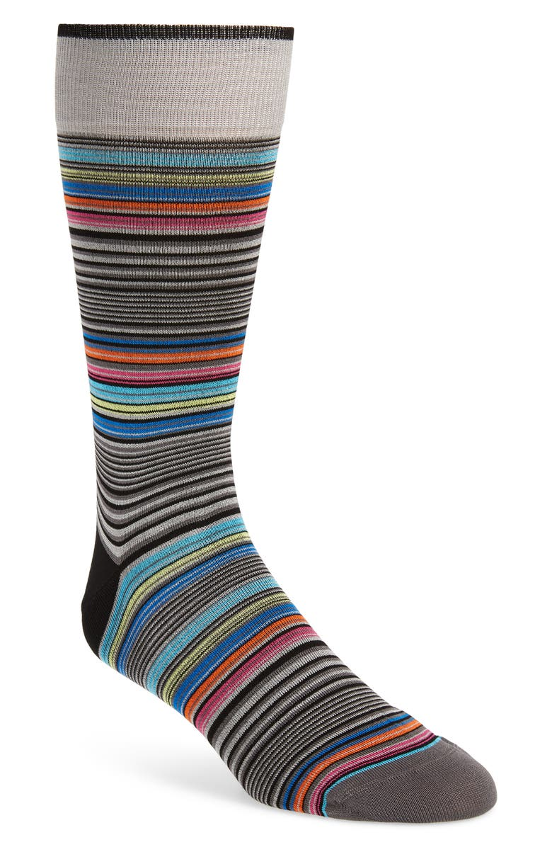 BUGATCHI Stripe Socks, Main, color, PLATINUM