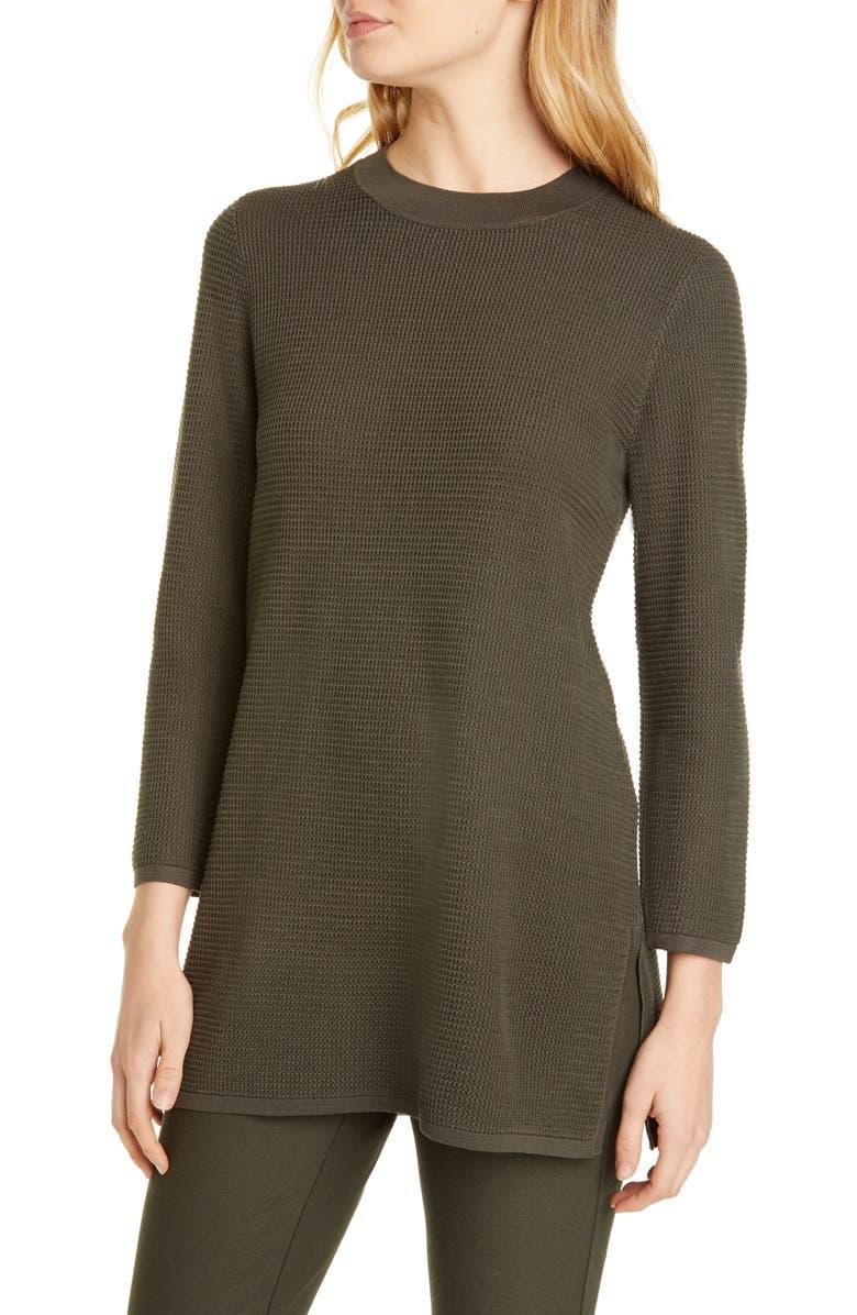 EILEEN FISHER Silk & Organic Cotton Tunic Sweater, Main, color, WOODLAND