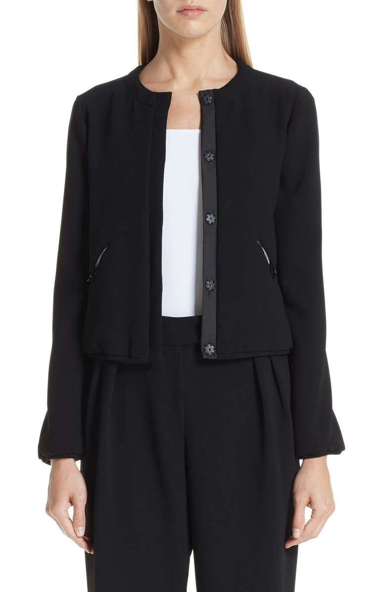 EMPORIO ARMANI Stretch Woven Jacket, Main, color, 001