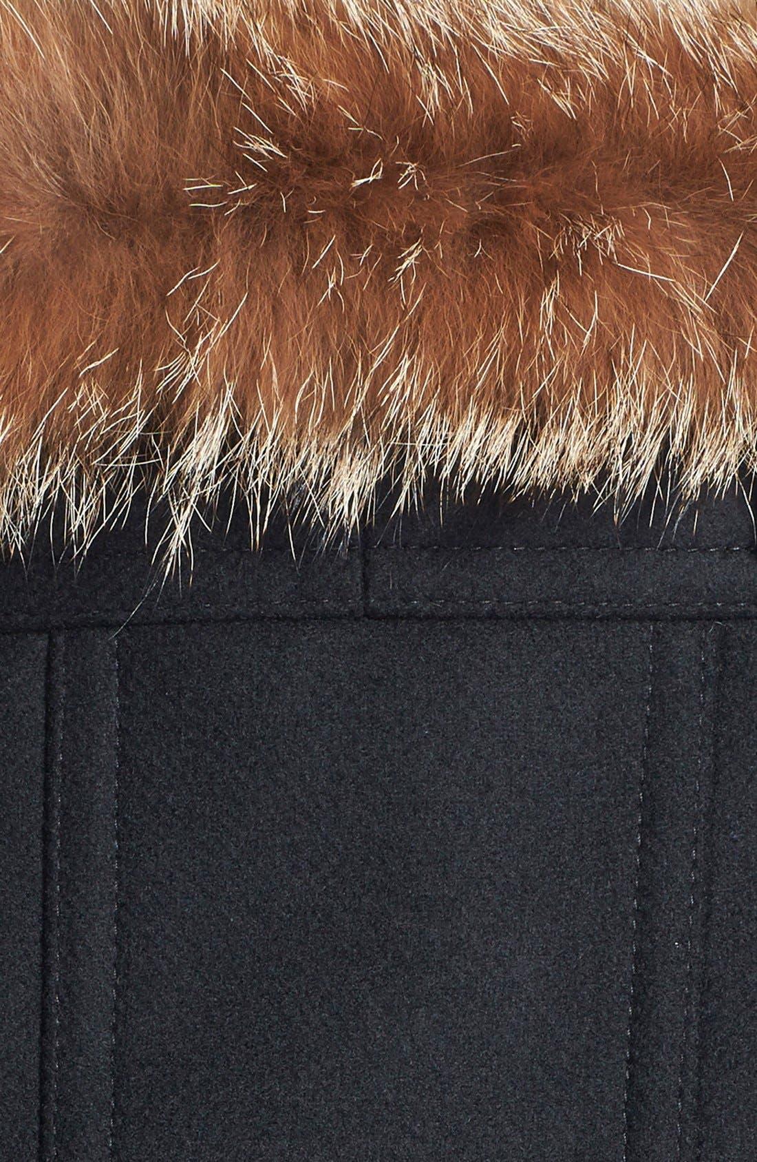 ,                             Genuine Coyote Fur Trim Wool Blend Duffle Coat,                             Alternate thumbnail 3, color,                             001
