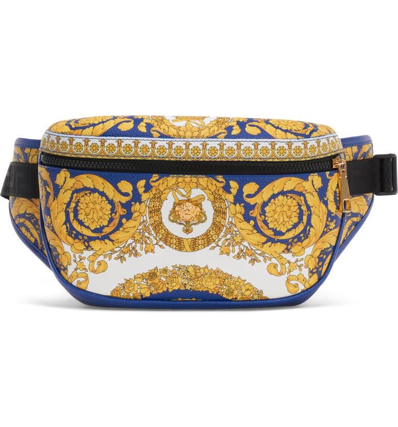 VERSACE Barocco Print Leather Belt Bag, Main, color, COBALT BLUE/MULTI/GOLD