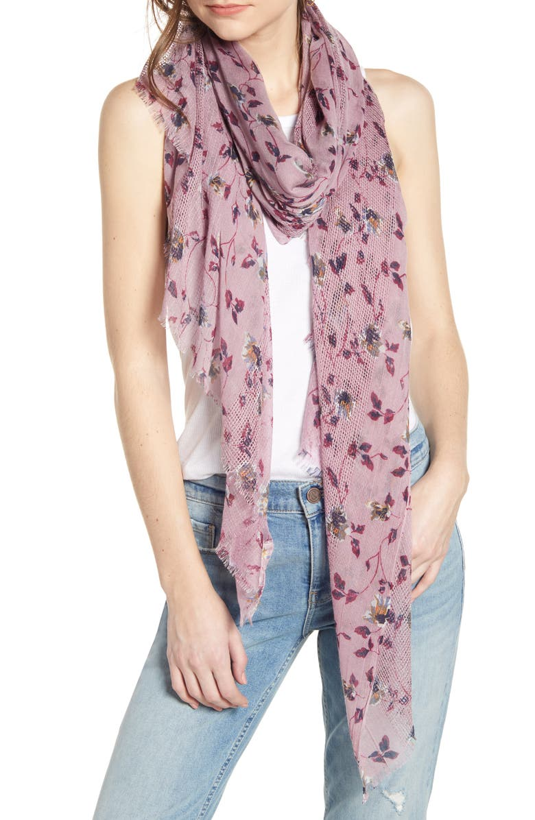 Textured Print Scarf, Main, color, PURPLE FLUID BLOOM