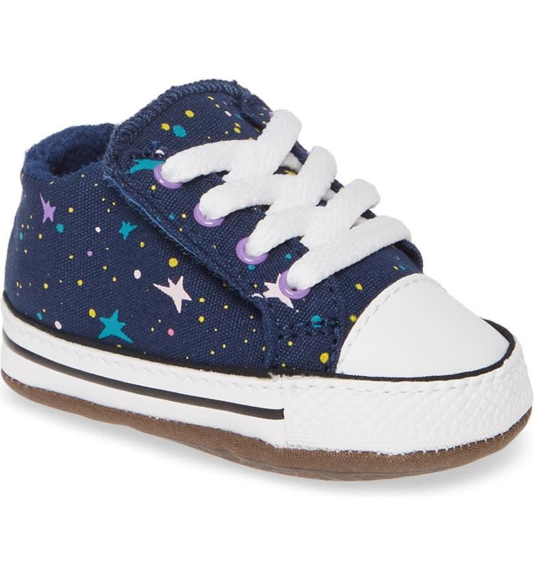 CONVERSE Chuck Taylor<sup>®</sup> All Star<sup>®</sup> Cribster Low Top Crib Shoe, Main, color, NAVY/ BRIGHT VIOLET/ WHITE
