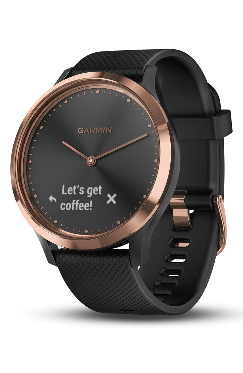 GARMIN Vivomove HR Sport Hybrid Smart Watch, 43mm, Main, color, BLACK/ BLACK/ ROSE GOLD