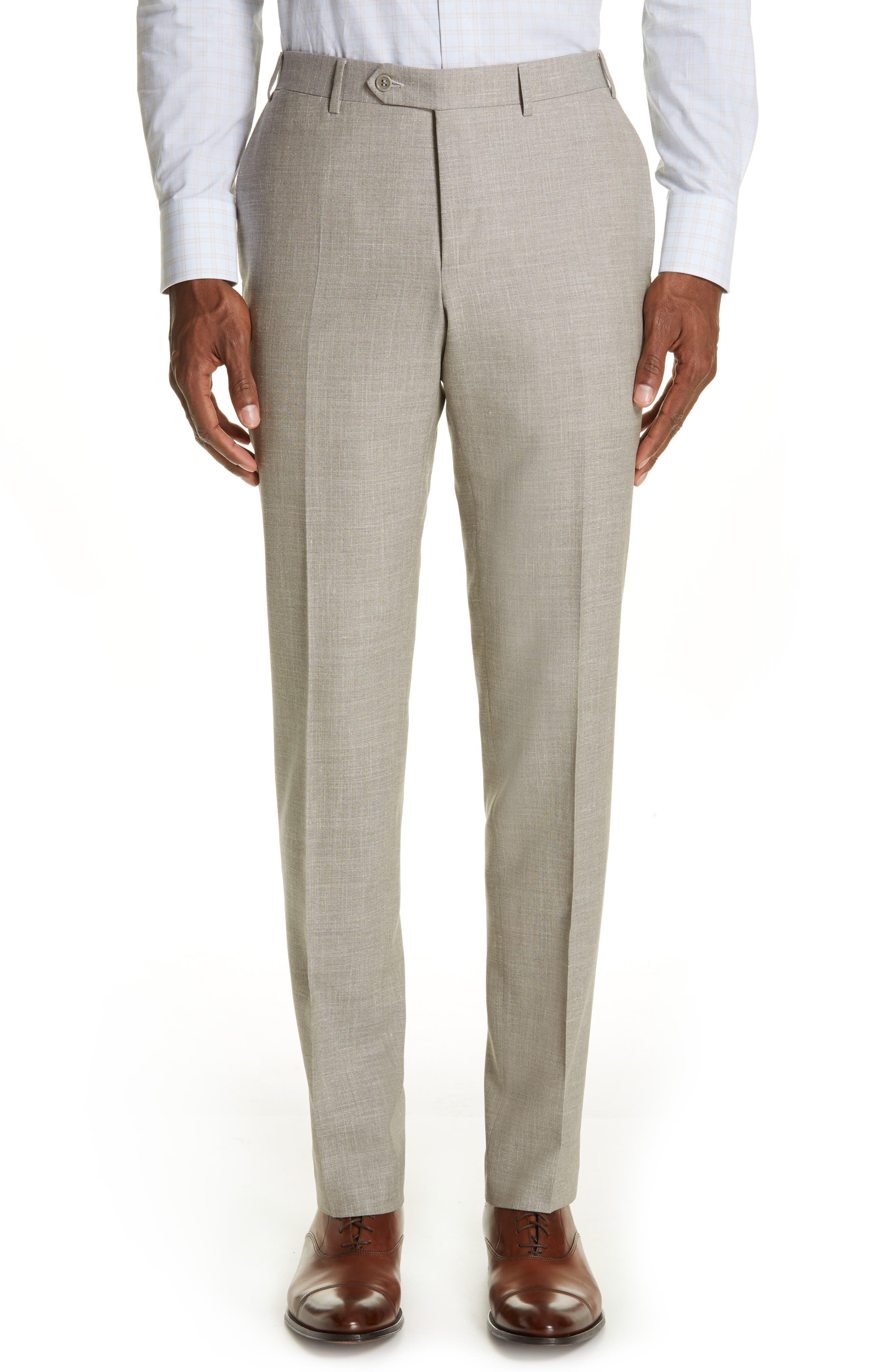 ,                             Milano Trim Fit Solid Wool Blend Suit,                             Alternate thumbnail 6, color,                             BEIGE
