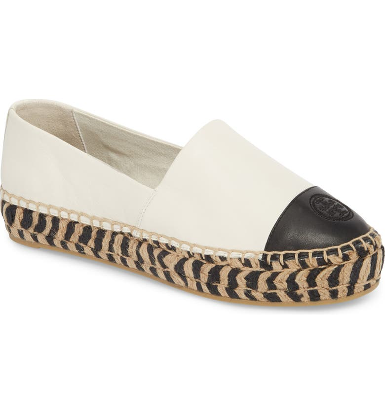 TORY BURCH Colorblock Platform Espadrille, Main, color, PERFECT IVORY/ PERFECT BLACK