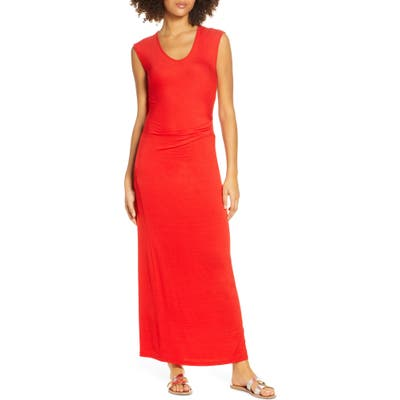 Fraiche By J Ruched Jersey Maxi Dress, Red