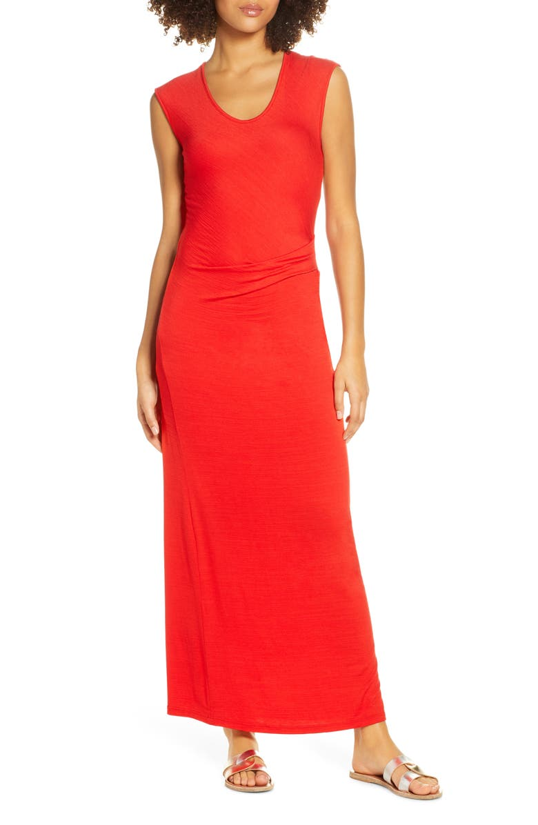FRAICHE BY J Ruched Jersey Maxi Dress, Main, color, RED