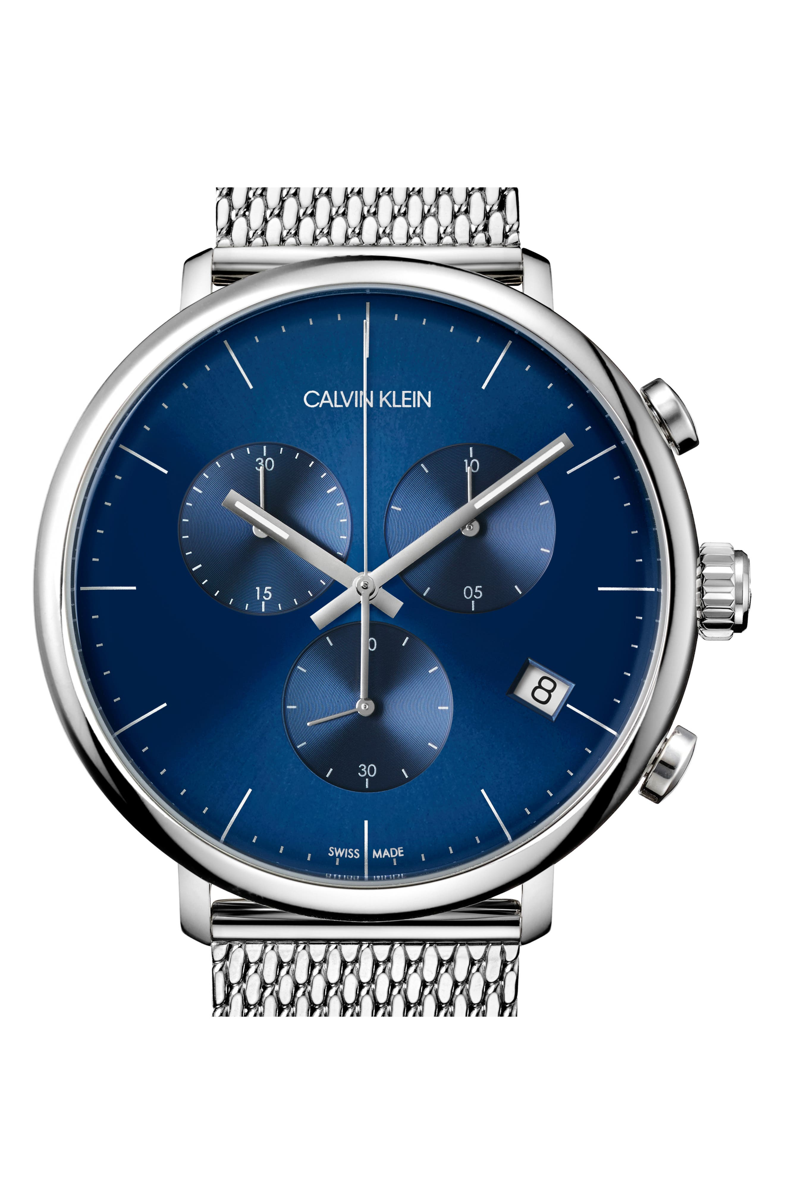 ,                             High Noon Chronograph Mesh Strap Watch, 43mm,                             Alternate thumbnail 3, color,                             SILVER/ BLUE/ SILVER