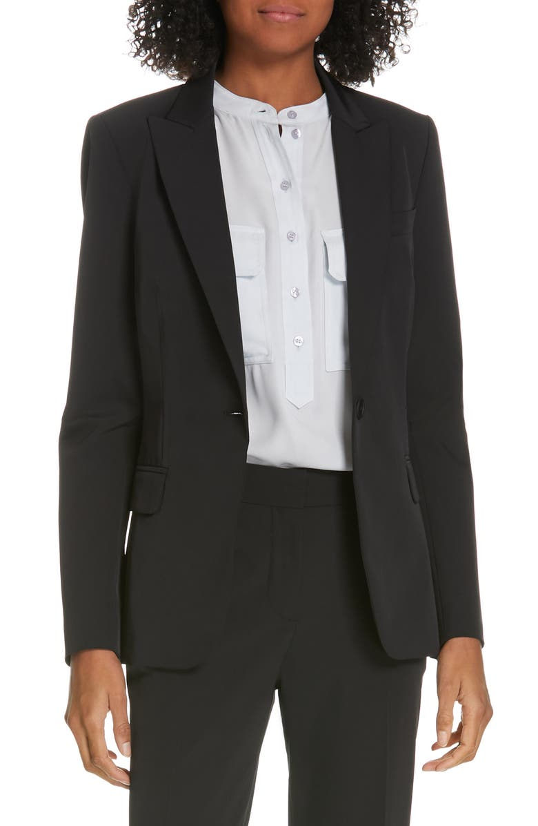 JUDITH & CHARLES Expressionist Suit Jacket, Main, color, BLACK