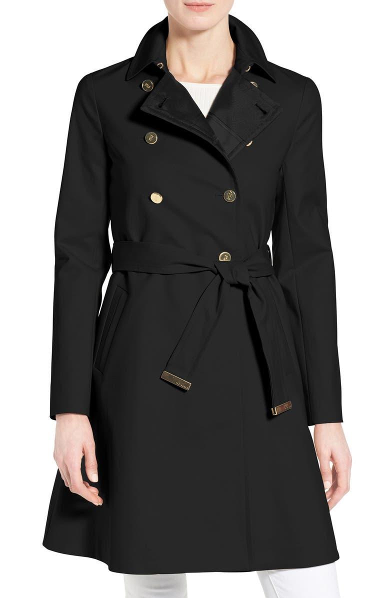 TED BAKER LONDON Belted A-Line Macintosh Coat, Main, color, 001