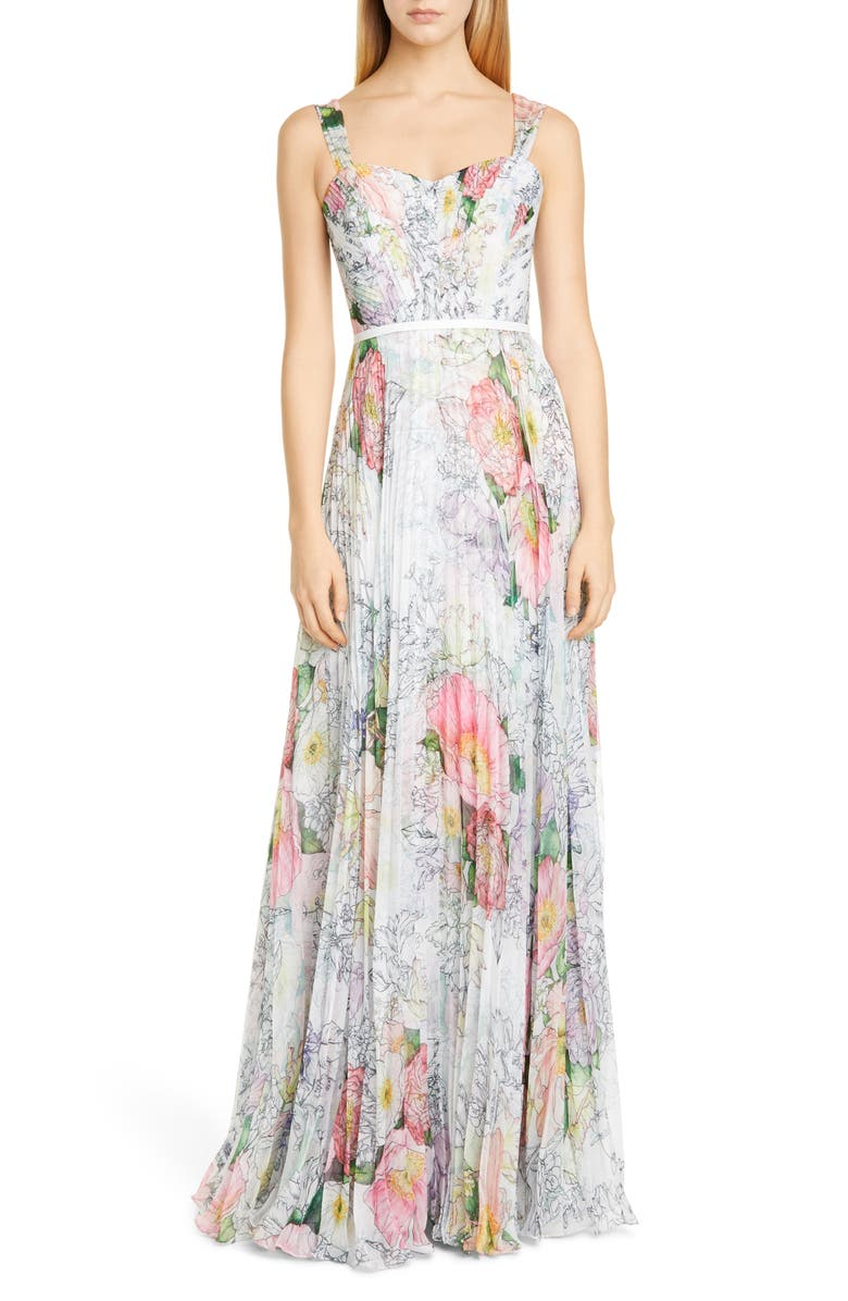 MARCHESA NOTTE Floral Pleated Tulle Gown, Main, color, IVORY