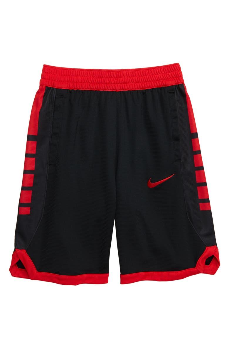 NIKE Dry Elite Basketball Shorts, Main, color, BLACK/ UNIVERSITY RED