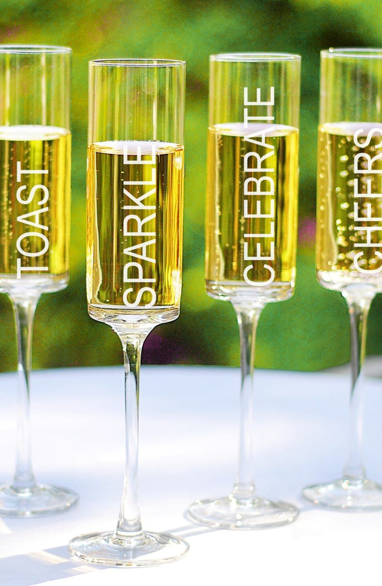 CATHY'S CONCEPTS 'Celebrate!' Contemporary Champagne Flutes, Main, color, NO COLOR