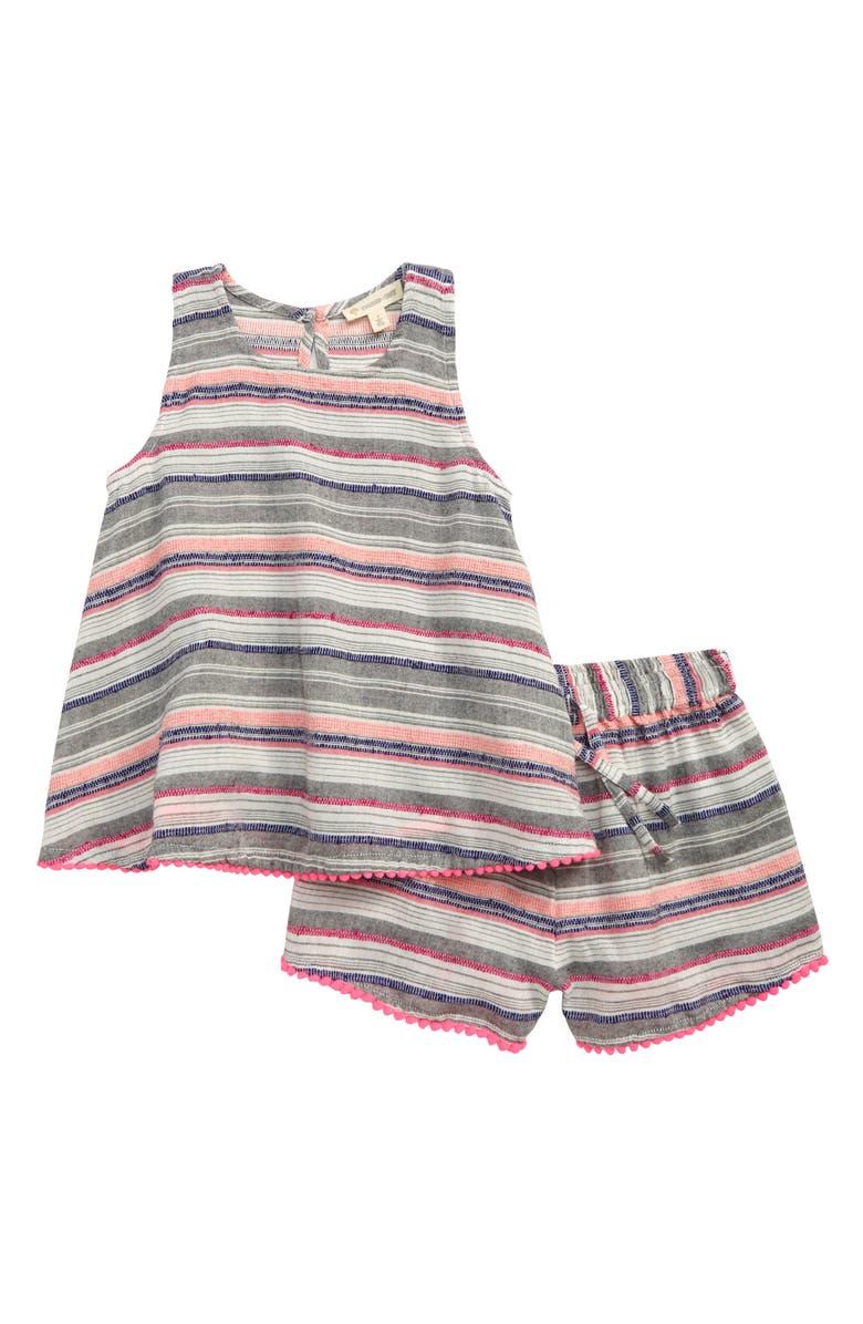 TUCKER + TATE Embroidered Stripe Top & Shorts Set, Main, color, WHITE- GREY MULTI STRIPE