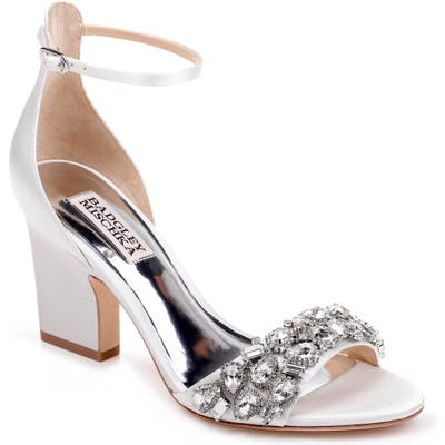 Badgley Mischka Laraine Embellished Ankle Strap Sandal, White