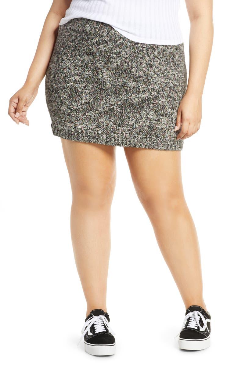 BP. Rainbow Marl Sweater Miniskirt, Main, color, BLACK MULTI MARL