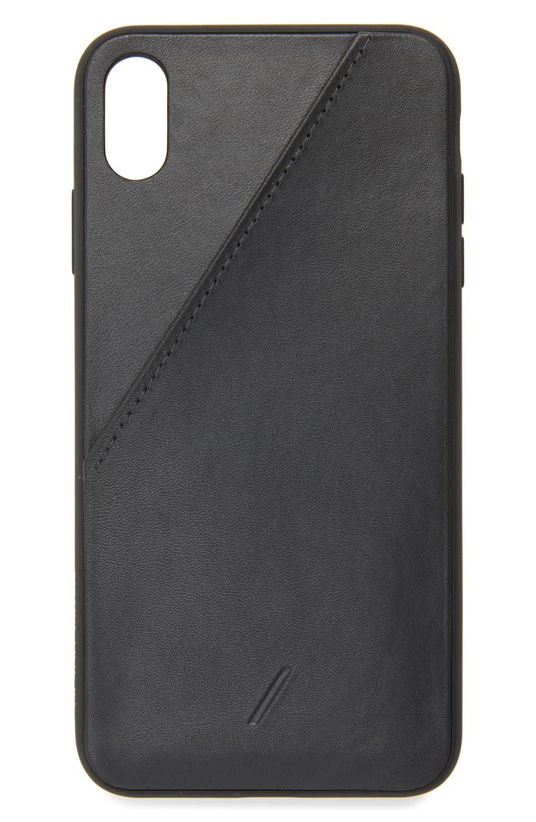 NATIVE UNION Leather Card iPhone XS Max Case, Main, color, BLACK