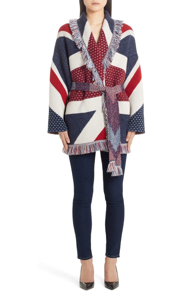ALANUI Union Jack Belted Oversize Cashmere Cardigan, Main, color, MULTICOLOR