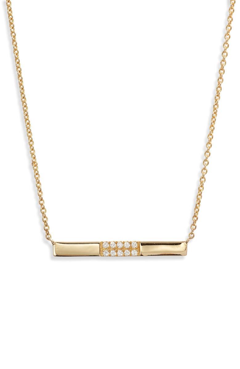 BONY LEVY Diamond Bar Pendant Necklace, Main, color, GOLD/ DIAMOND
