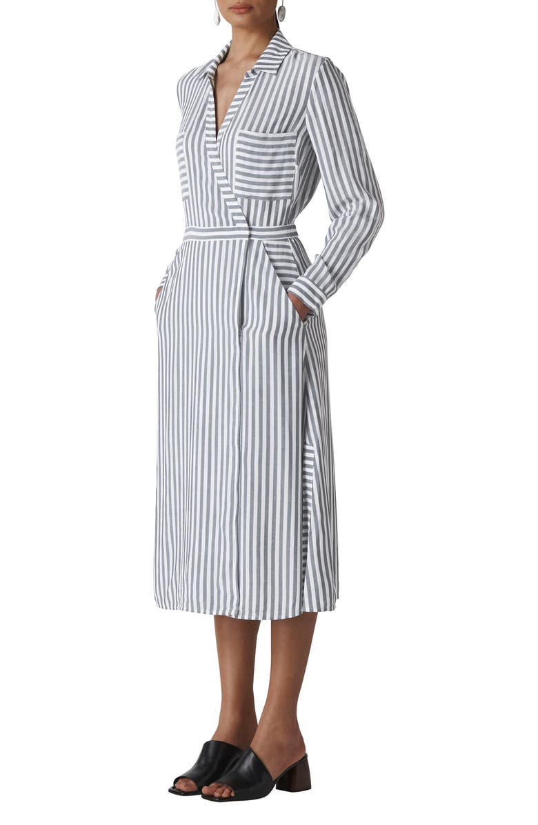 WHISTLES Stripe Wrap Shirtdress, Main, color, 020