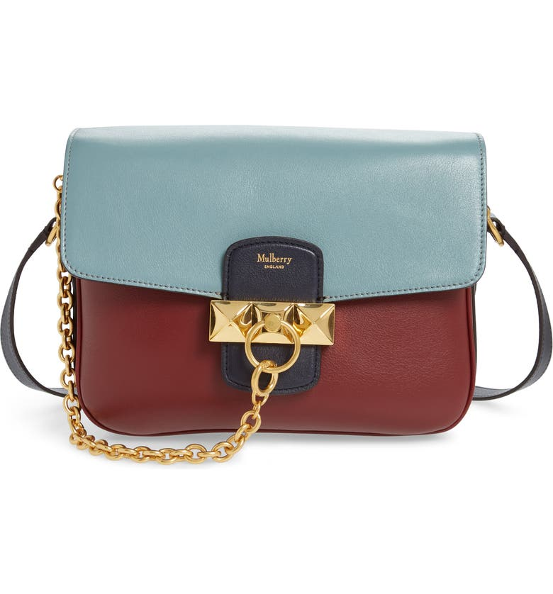 MULBERRY Keeley Colorblock Leather Shoulder Bag, Main, color, CRIMSON