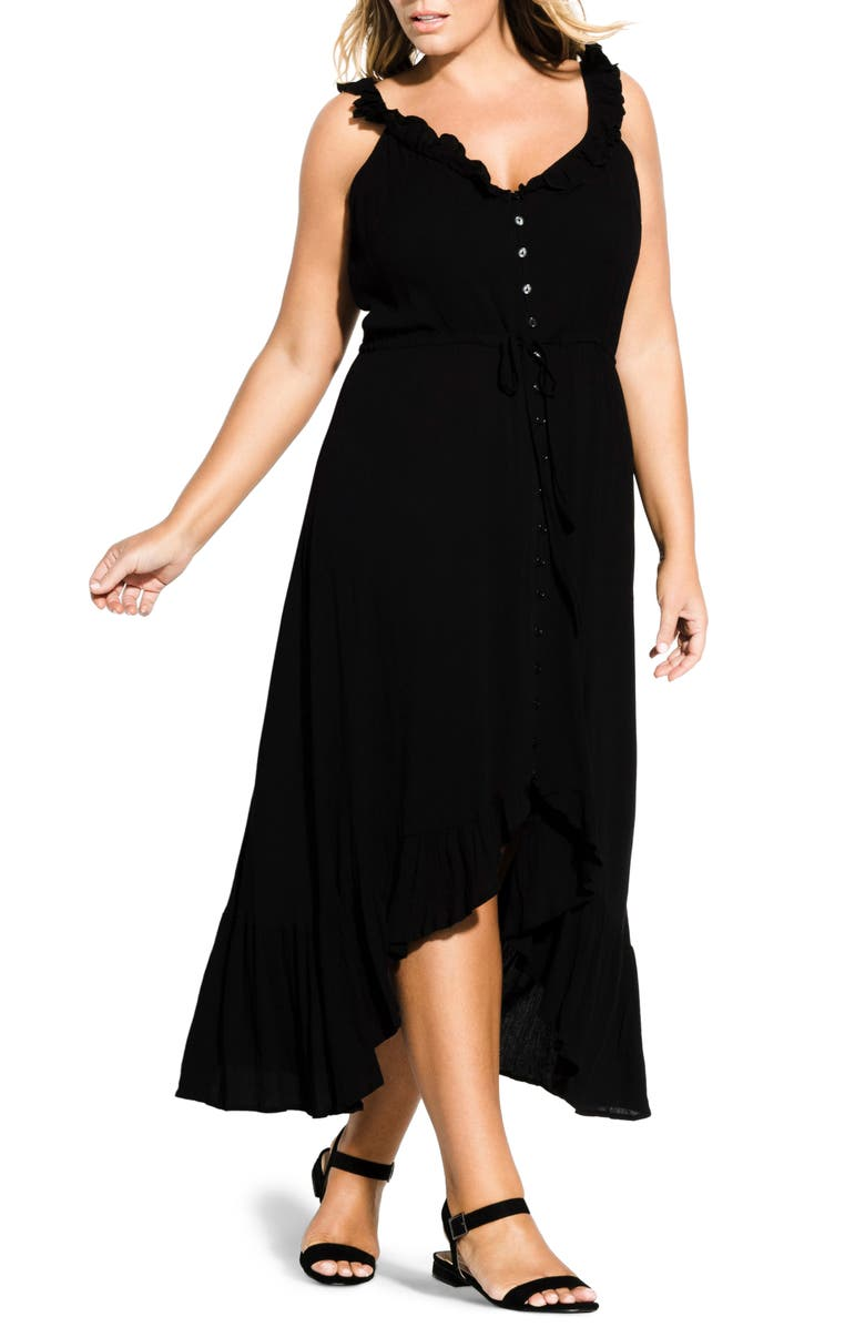 CITY CHIC Ruffle Trim Maxi Dress, Main, color, BLACK