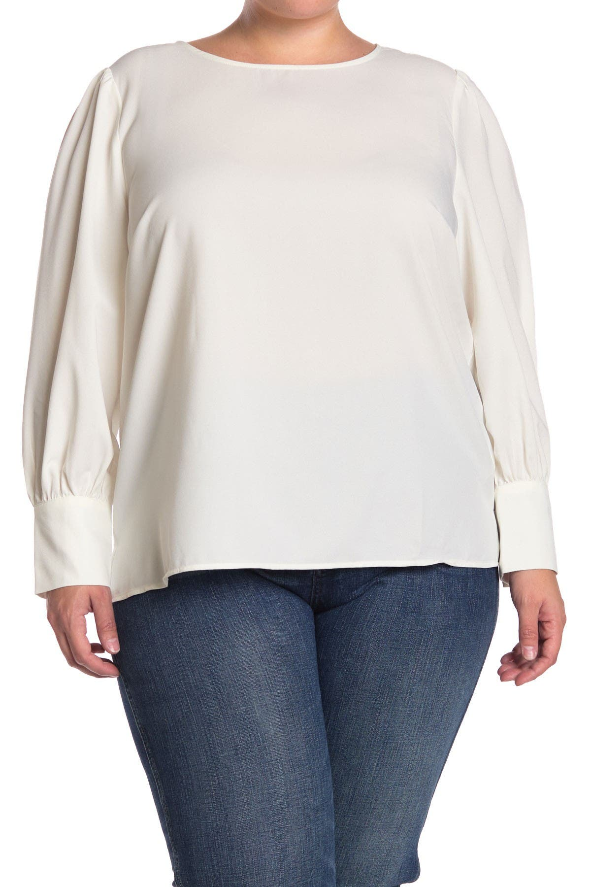 Image of ELOQUII Puff Sleeve Pearl Button Blouse