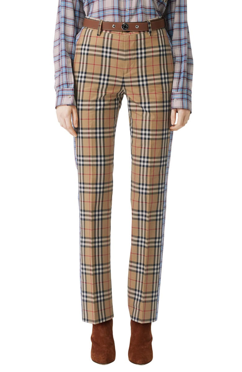BURBERRY Dana Archive Check Print Cotton Pants, Main, color, ARCHIVE BEIGE