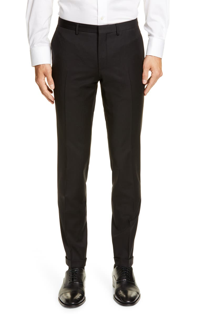 BOSS Wave CYL Flat Front Slim Fit Solid Wool Dress Pants, Main, color, BLACK