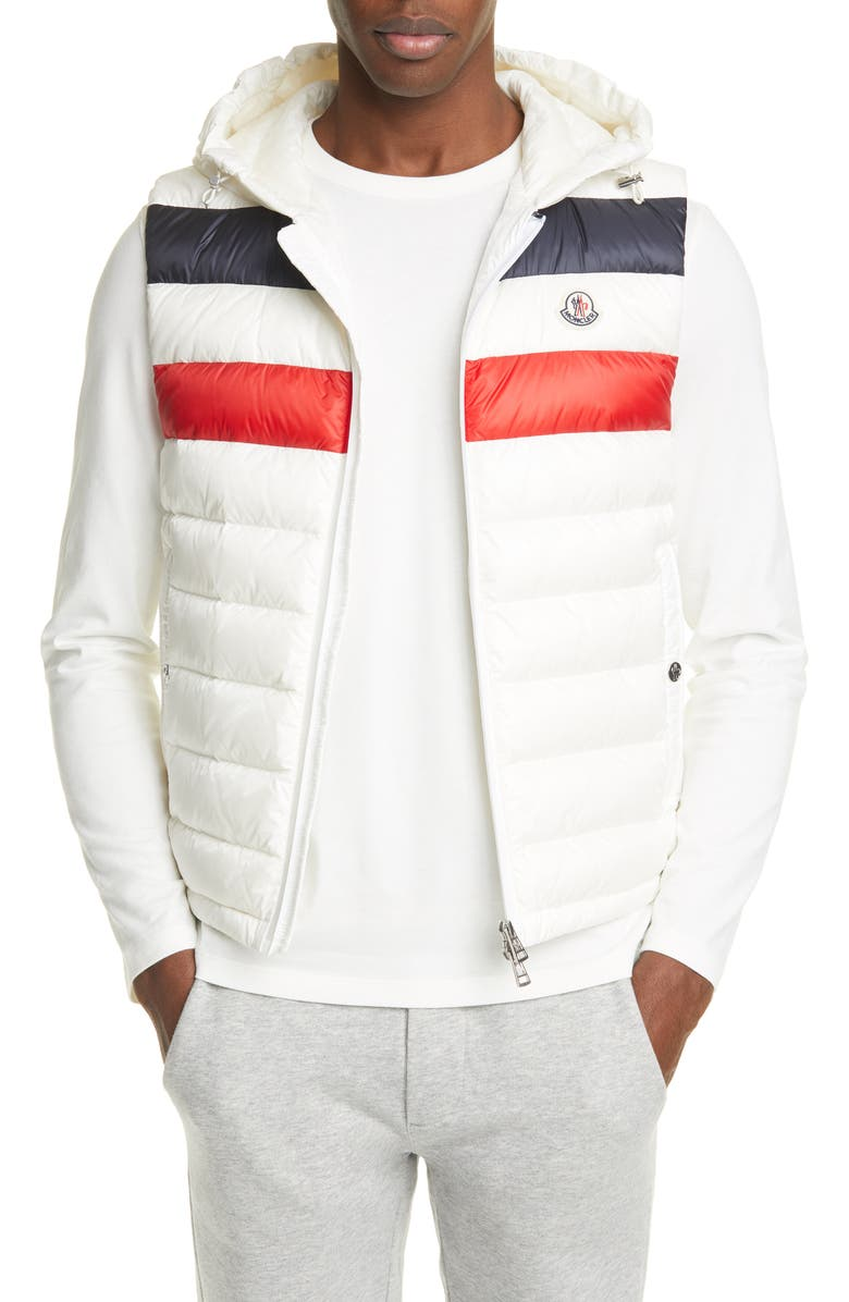 MONCLER Quilted Down Hooded Vest, Main, color, WHITE