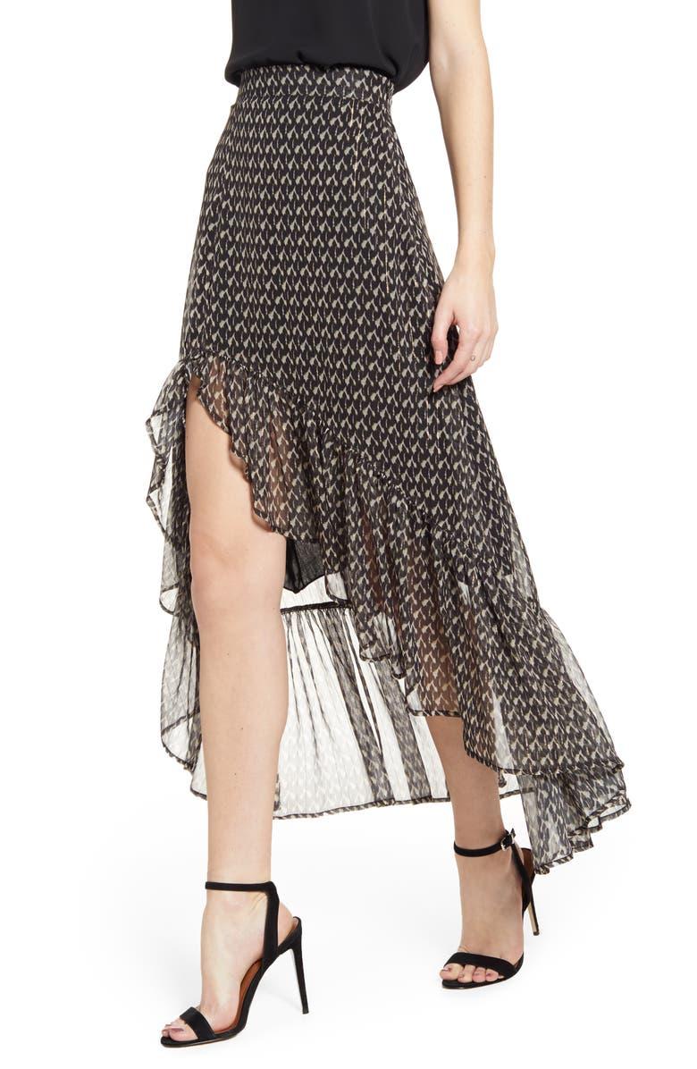 A LA PLAGE High/Low Skirt, Main, color, BLACK MULTI
