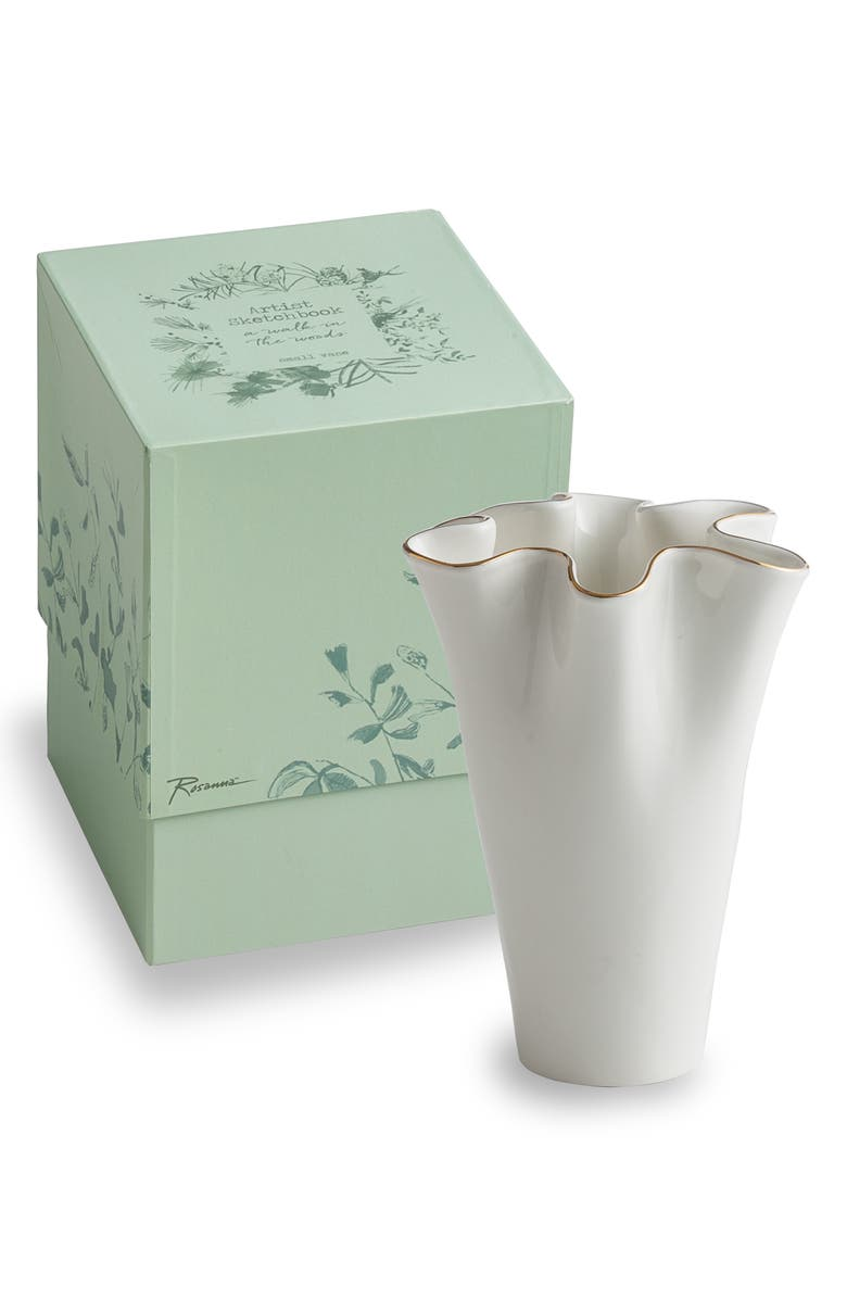 ROSANNA Small Fluted Vase with Gold Fillet, Main, color, WHITE/GOLD