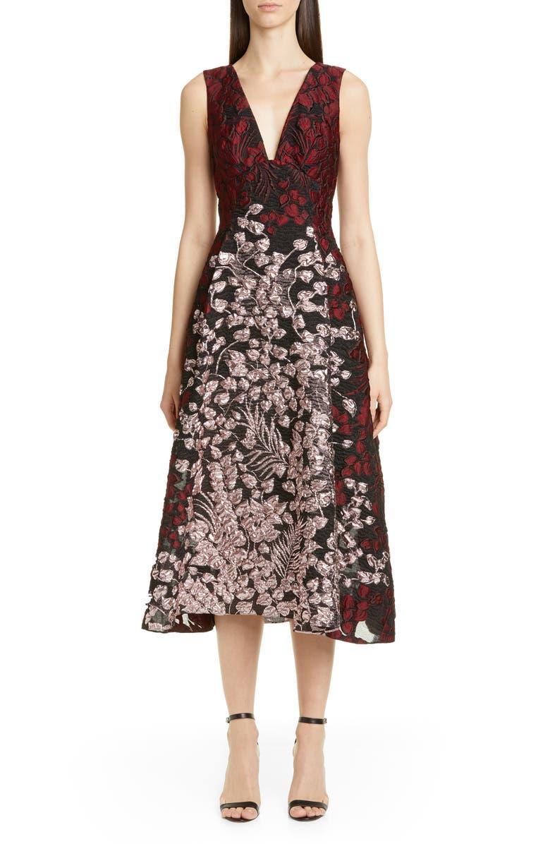 LELA ROSE Bicolor Matelassé Fit & Flare Midi Dress, Main, color, BORDEAUX MULTI