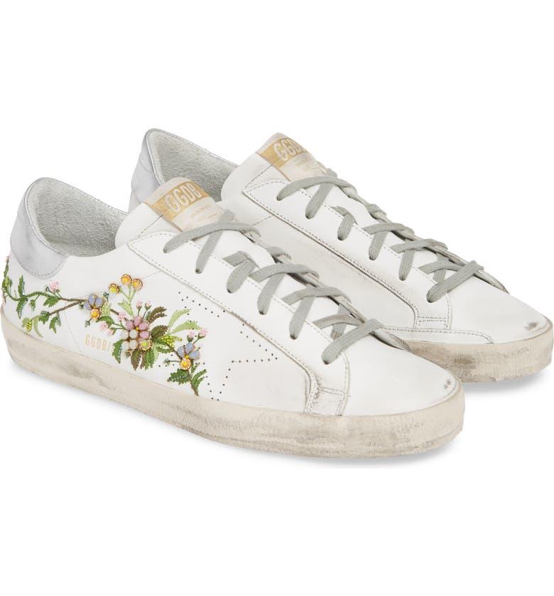 GOLDEN GOOSE Superstar Embellished Floral Sneaker, Main, color, WHITE/ FLORAL