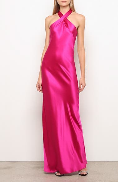 The Eve Halter Neck Silk Gown, video thumbnail