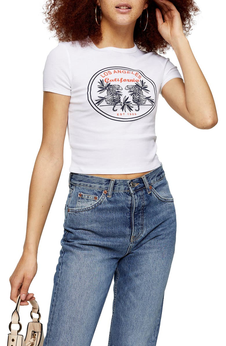 TOPSHOP Los Angeles Graphic Tee, Main, color, WHITE