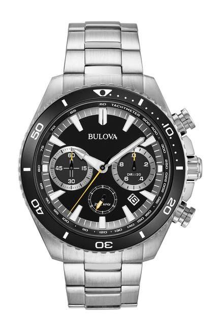 Image of Bulova Men's High Frequency Quartz Chronograph Silver Tone Watch, 48mm